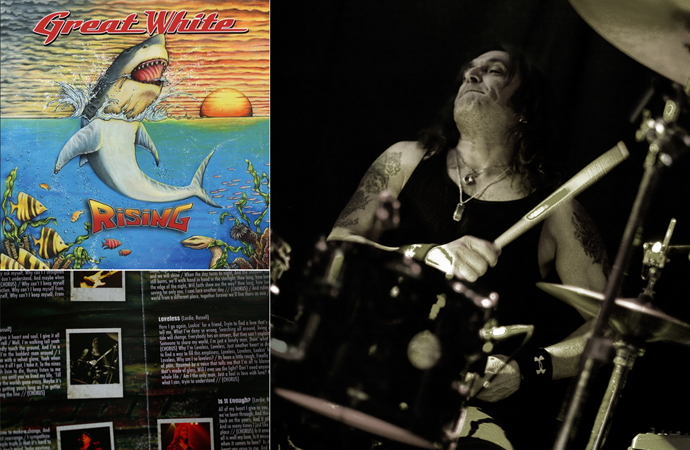 Photo of ...awlrite, the photo isn't very big, but I still find it cool to see one of my live pix of Audie Desbrow (dr.) in the album booklet of Great White's album the Rising (2009)!