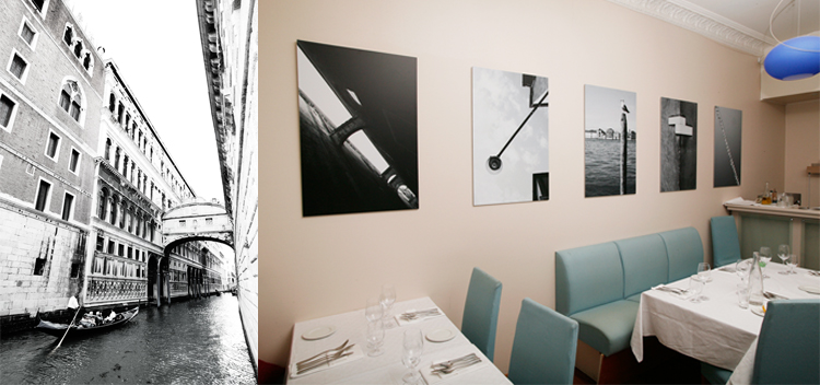 Photo of 11 b/w photos from Venice exhibited at Mares', Frognerveien 12, Oslo. Current.