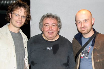 Photo of Metal Express Radio editor Stig (l), Bernie Marsden (ex Whitesnake) + POH