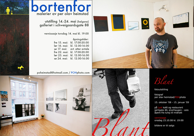 Photo of Posters and interior shots from two gallery exhibitions, Schweigaardsgt. 88, Oslo, 2009.